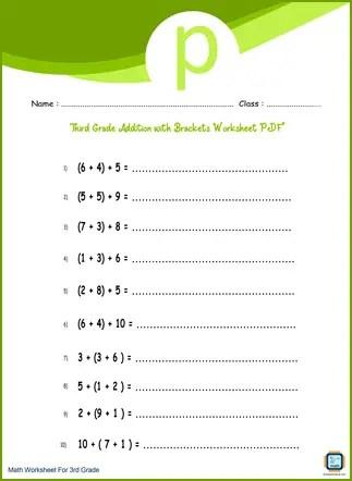 Third Grade Addition with Brackets Worksheet