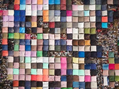 Fotografia aerea - Qinghua Shui, Pilgrimage of millions of people, 2018
