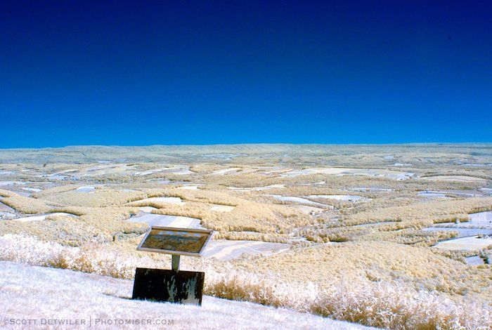Mountaintop view at the Hawk Watch in false color