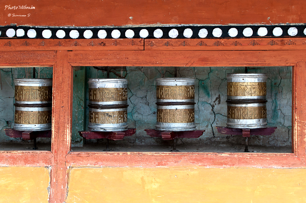 Tibetan prayer wheels at a monastery