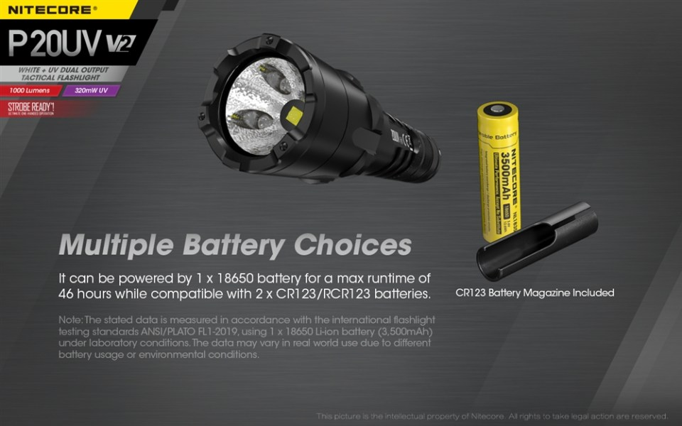 Nitecore P20UV V2 battery choices