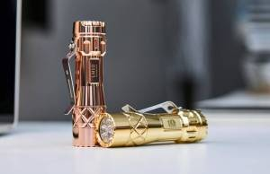 Lumintop LM10 flashlight in copper and brass