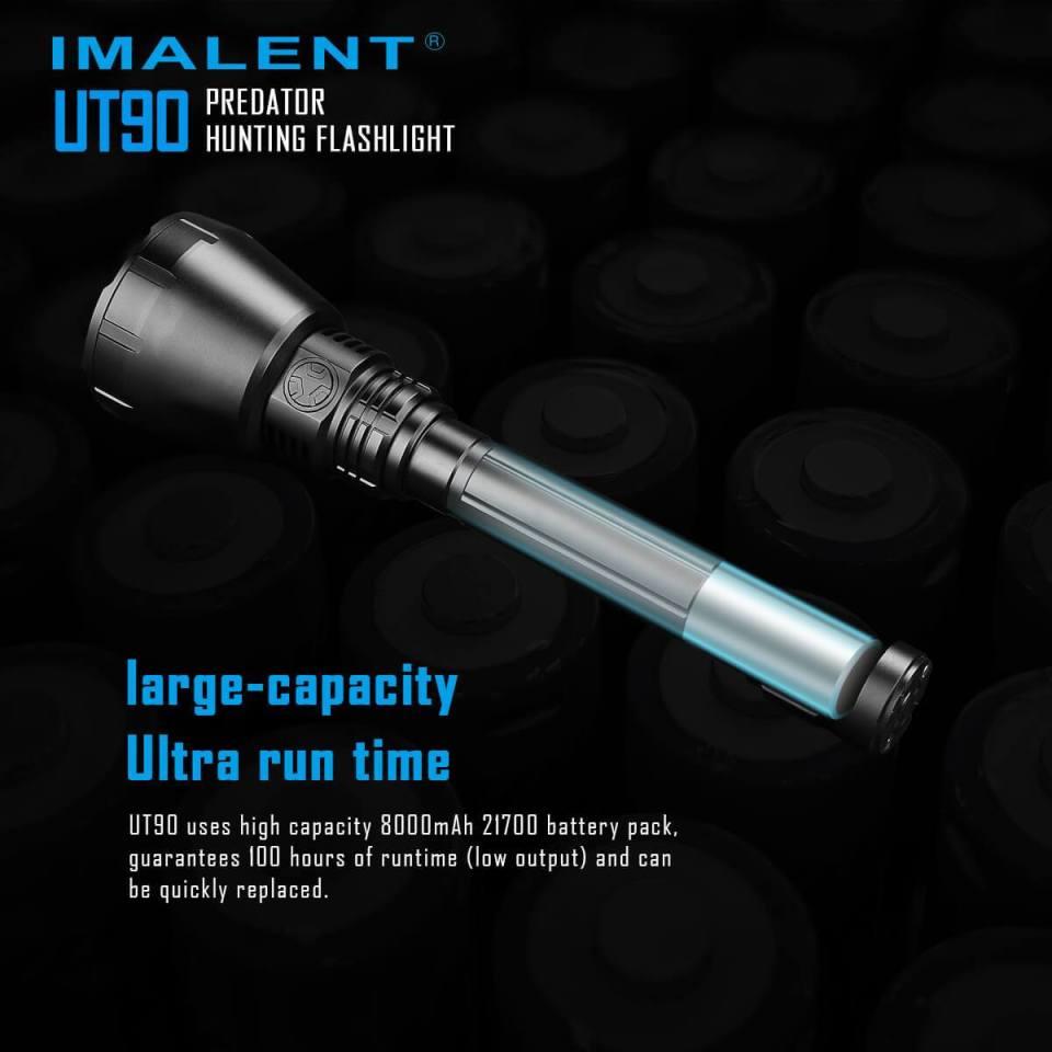 imalent ut90 luminus sbt-90 hunting flashlight 21700 battery info