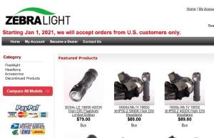 zebralight shipping to only united states customers jan 1 onward