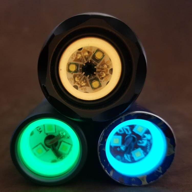 3 multi emitter flashlights with photonphreaks flood ring mule spacers