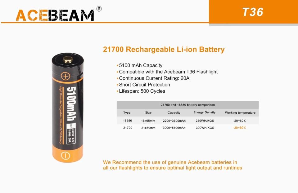 Acebeam T36 battery
