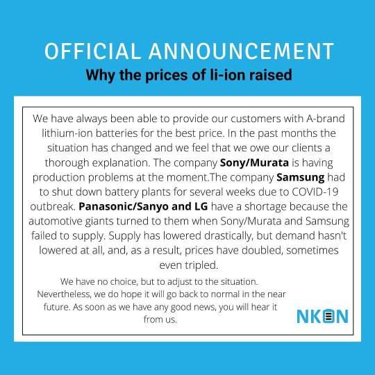 NKON li-ion price increase