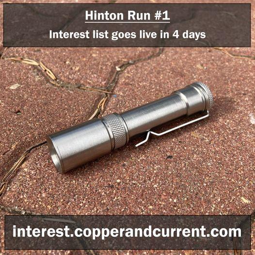 Copper and Current Hinton AA / 14500 custom titanium flashlight.