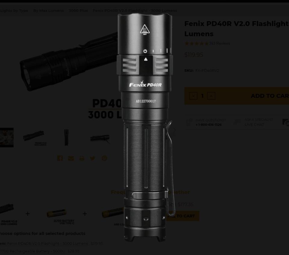 Fenix PD40R V2.0 dial detail