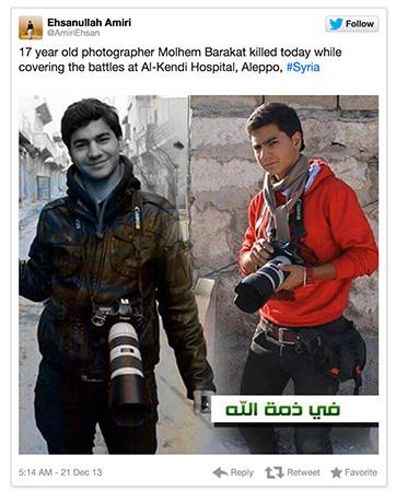Jonge fotograaf komt om in Syrië