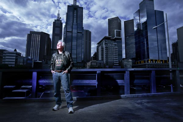Barry with the Melbourne sky scrapers.