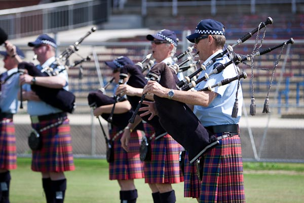 Bag pipe band practicing.