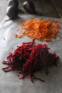 Grated Carrots & Beets On Parchment Paper