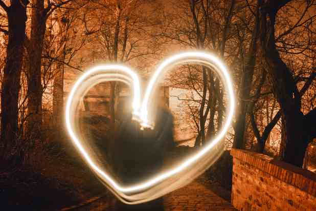 Heart created with long exposure light trail