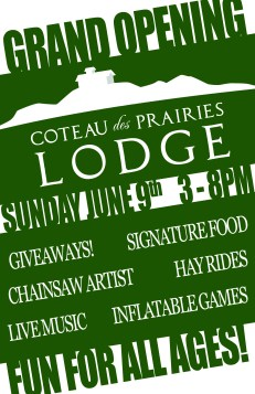 Coteau des Prairies Lodge Grand Opening Poster
