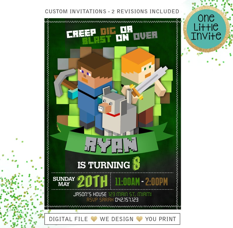 best minecraft party invitations