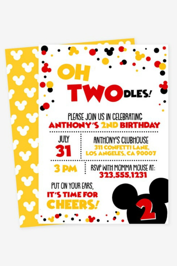 fun mickey mouse party invitations