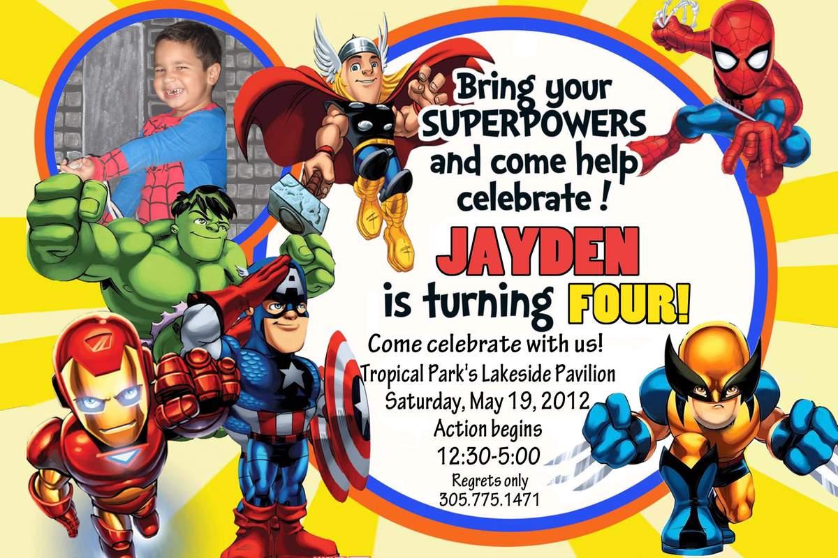 marvel superheroes squad birthday party