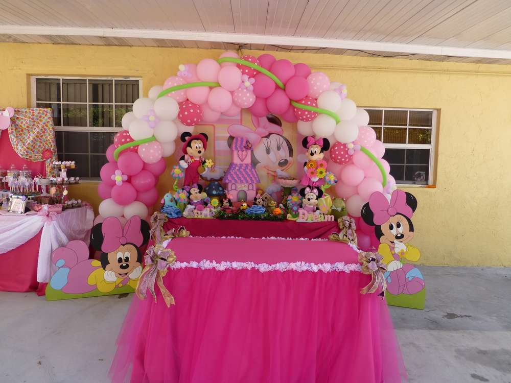 Baby Minnie Mouse 1st Birthday Birthday Party Ideas Photo 4 Of 51 Catch My Party