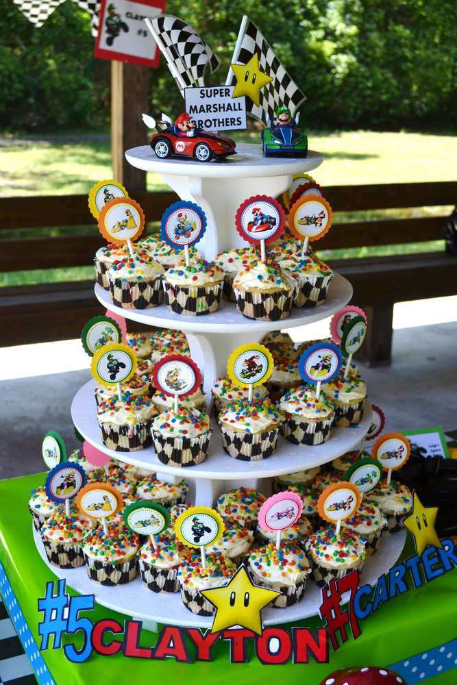 Super Mario Brothers Mario Kart Wii Birthday Party Ideas Photo 25 Of 52 Catch My Party