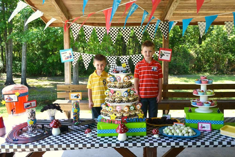 Super Mario Brothers Mario Kart Wii Birthday Party Ideas Photo 3 Of 52 Catch My Party