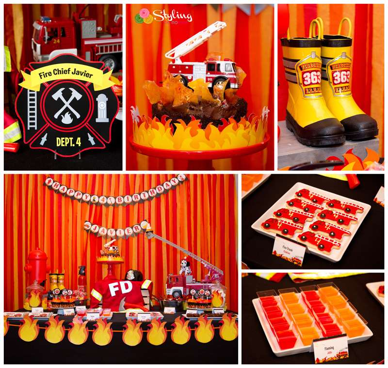 Fire Truck Firefighter Birthday Party Ideas Photo 1 Of 24 Catch My Party