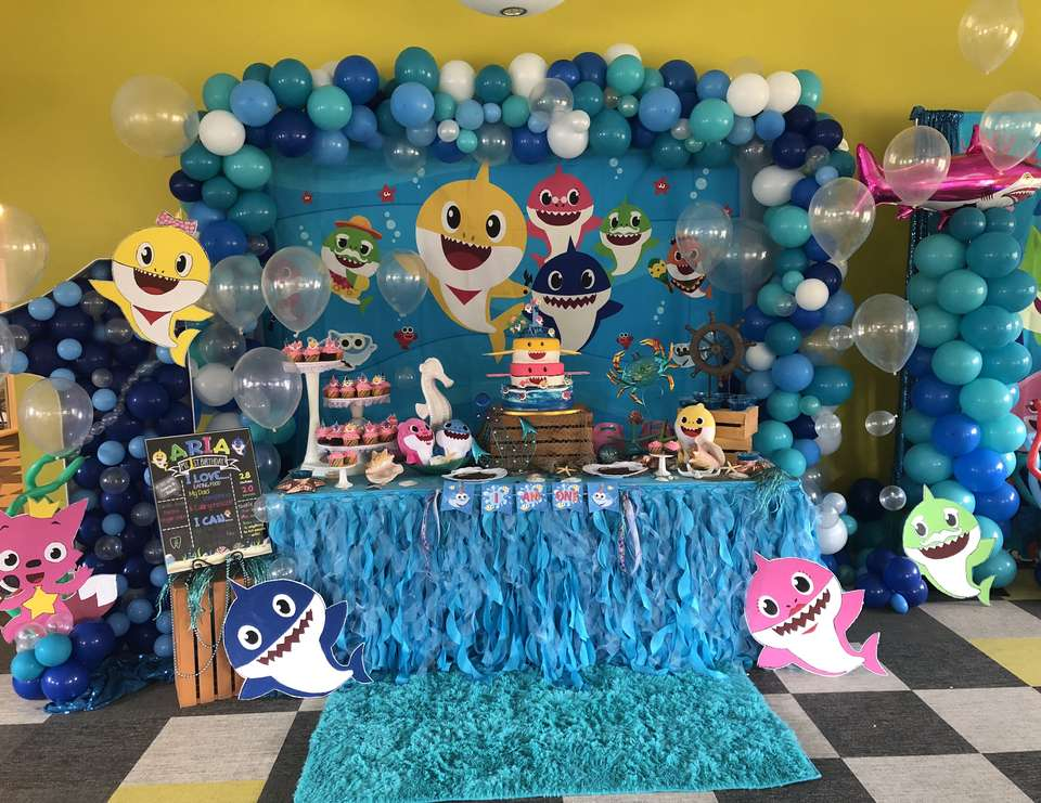 Baby Shark Birthday Aria S Baby Shark First Birthday Party Catch My Party