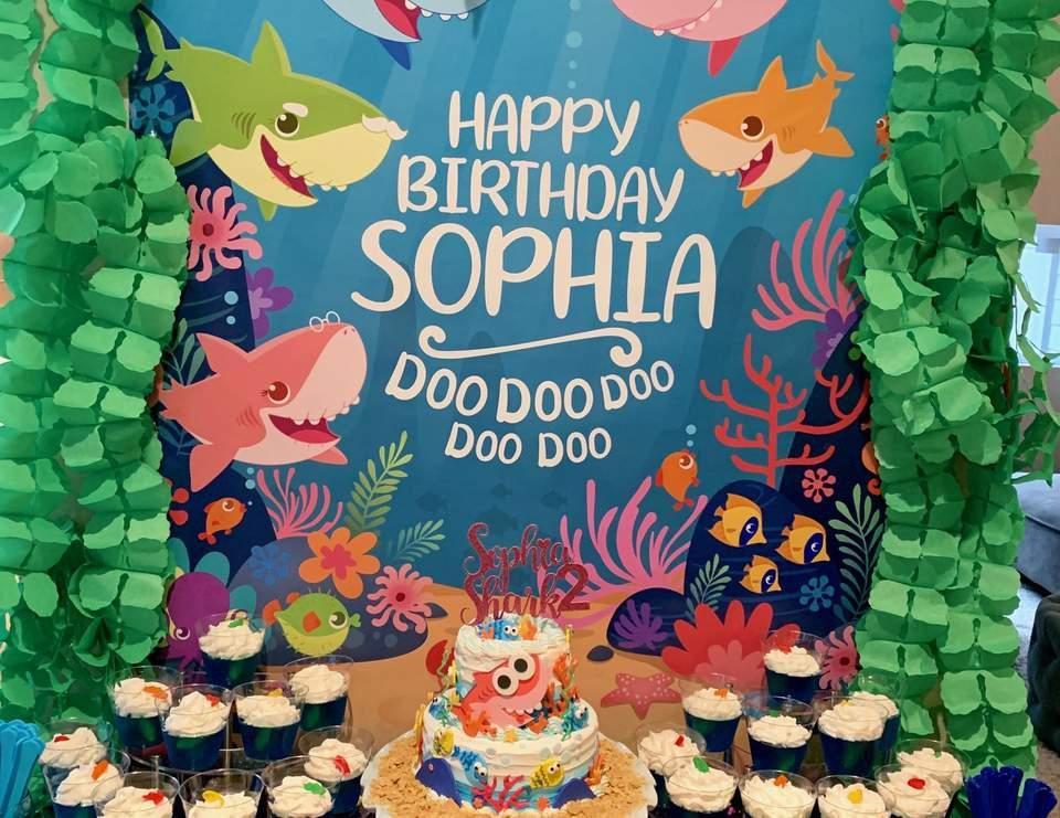 Baby Shark Birthday Sophia Shark S 2nd Birthday Party Catch My Party
