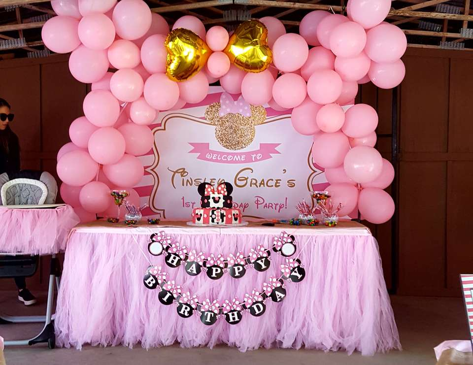 Minnie Mouse Birthday Pretty In Pink Minnie Mouse First Birthday Party Catch My Party