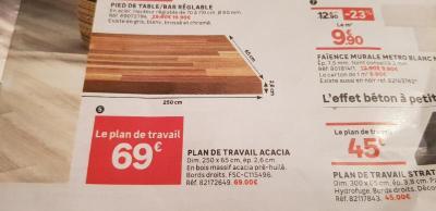 Plan De Travail Bois Acacia Lamelle Huile L 250 X P 65 Cm Ep 26 Mm Leroy Merlin