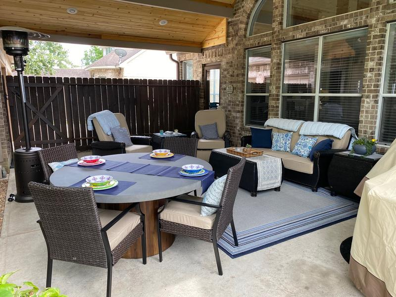 breckenridge 4 piece patio furniture set two recliners sofa and coffee table natural tan