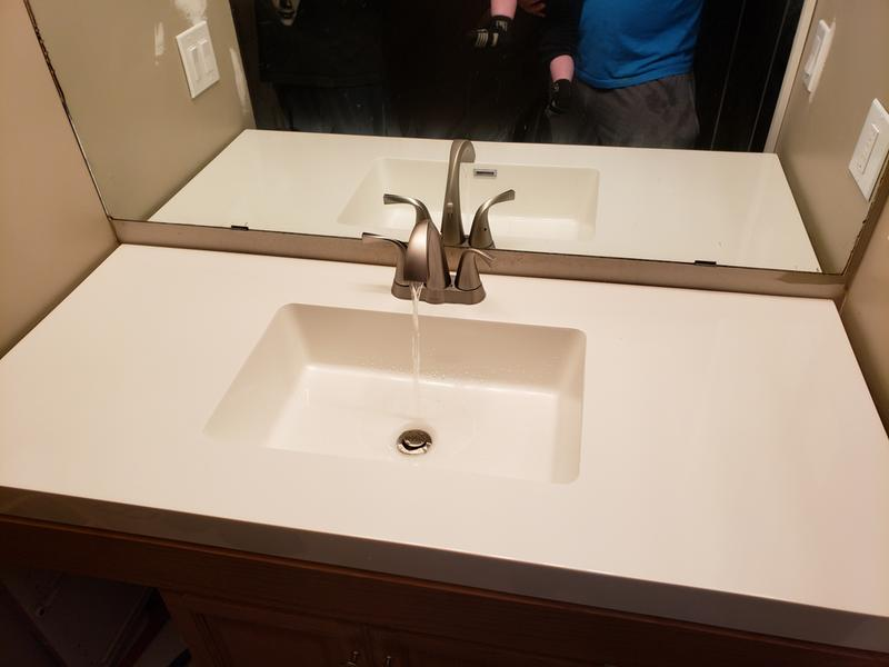 oxby spot resist brushed nickel two handle high arc bathroom faucet