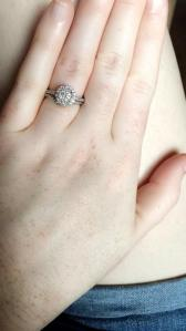 3 4 CT  T W  Diamond Double Frame Engagement Ring in 14K White Gold     Review photo 1