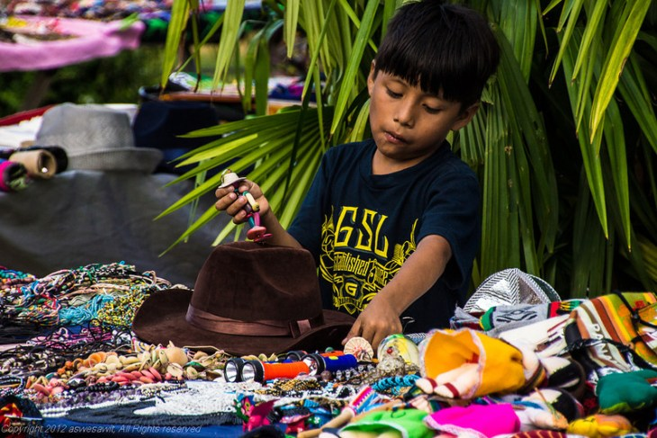 Selling items at Carnaval in Panama City 2013