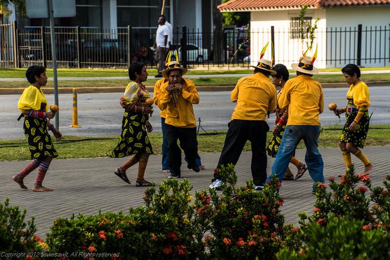 Kuna Yala dancing during Panama Carnaval