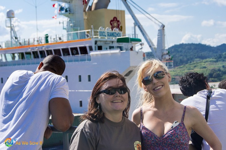 Linda and her daughter at the Panama Canal