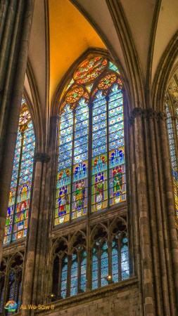 Cologne Cathedral has lots of stained glass windows.