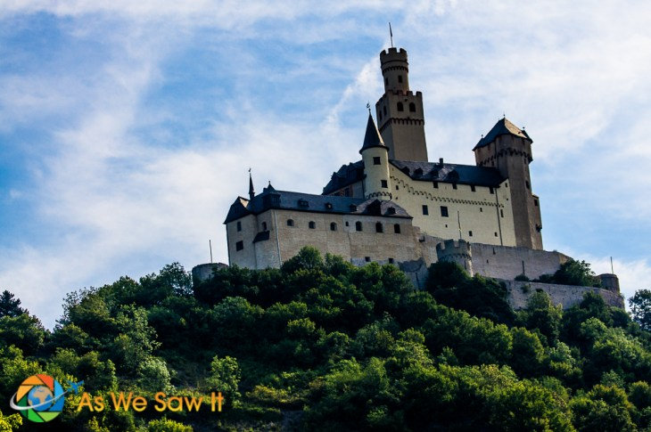 Beautifully restored castle on the Rhine river
