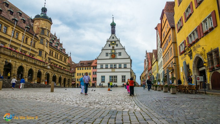 Street level view of the main square in Rothenburg, Germany.