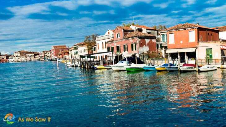 colorful boats on Murano waterfront
