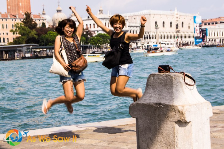 Jumping for joy in Venice - The things people do for a selfie