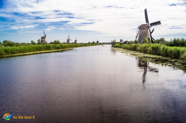 Kinderdijk windmills line up like soldiers along a canal