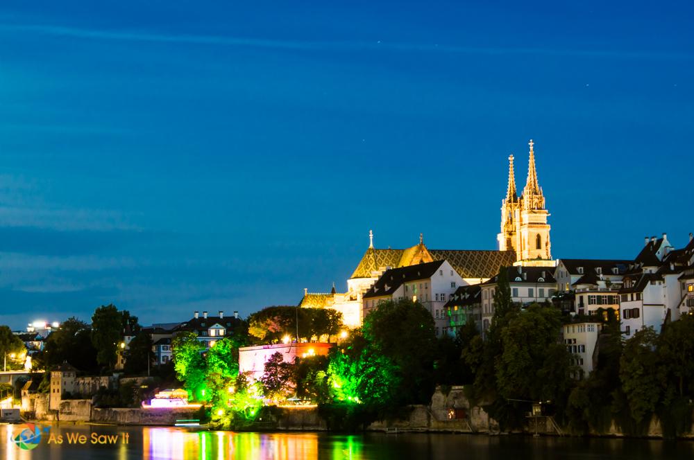 Basel, Switzerland in lights.