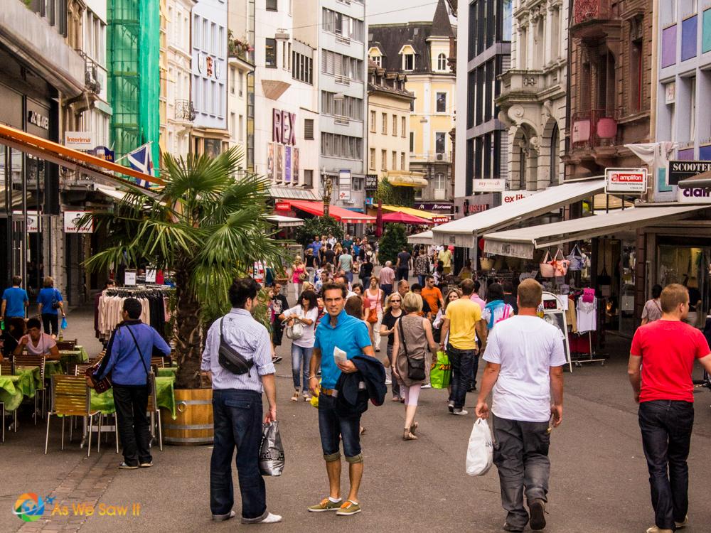 Crowded street in Basel, Switzerland.