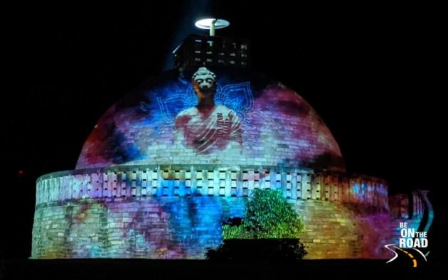 The story of Lord Buddha, King Ashoka and his followers during the light and sound show at Sanchi Stupa, Madhya Pradesh