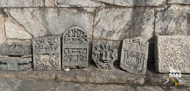 Stone carving remnants of Lakshmi Devi temple shrines