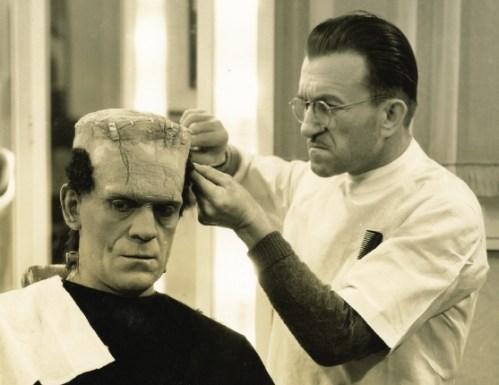 Jack Pierce applies the famous monster makeup to Boris Karloff