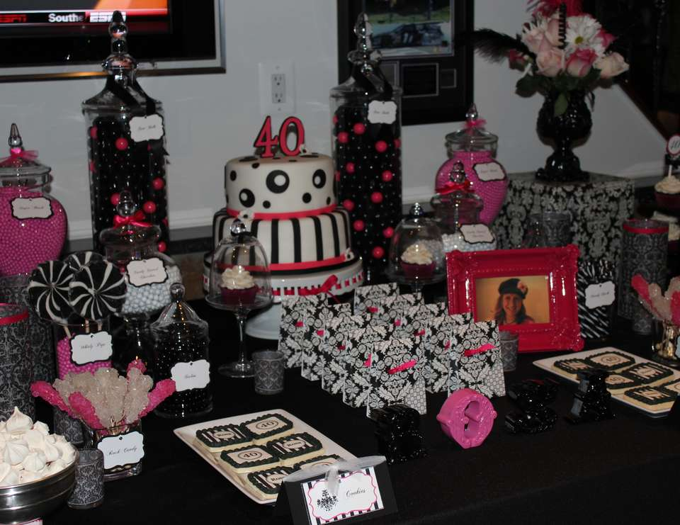 "Black, White & Pink / Birthday ""Surprise 40th Birthday"