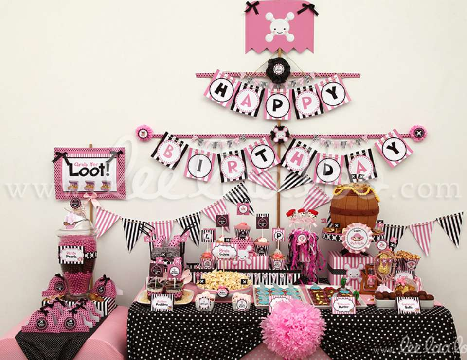 "Pirates / Birthday ""Pirate Girl Pink Black Birthday Party"