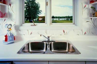 old stainless steel kitchen sink